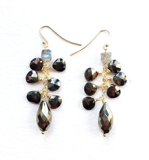 Faceted pyrite/labradorite cluster earring