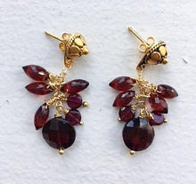Vermeil post earring with garnet cluster