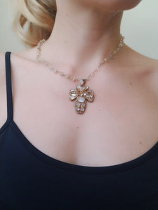 Moonstone Rosary 80s Style Cross Necklace