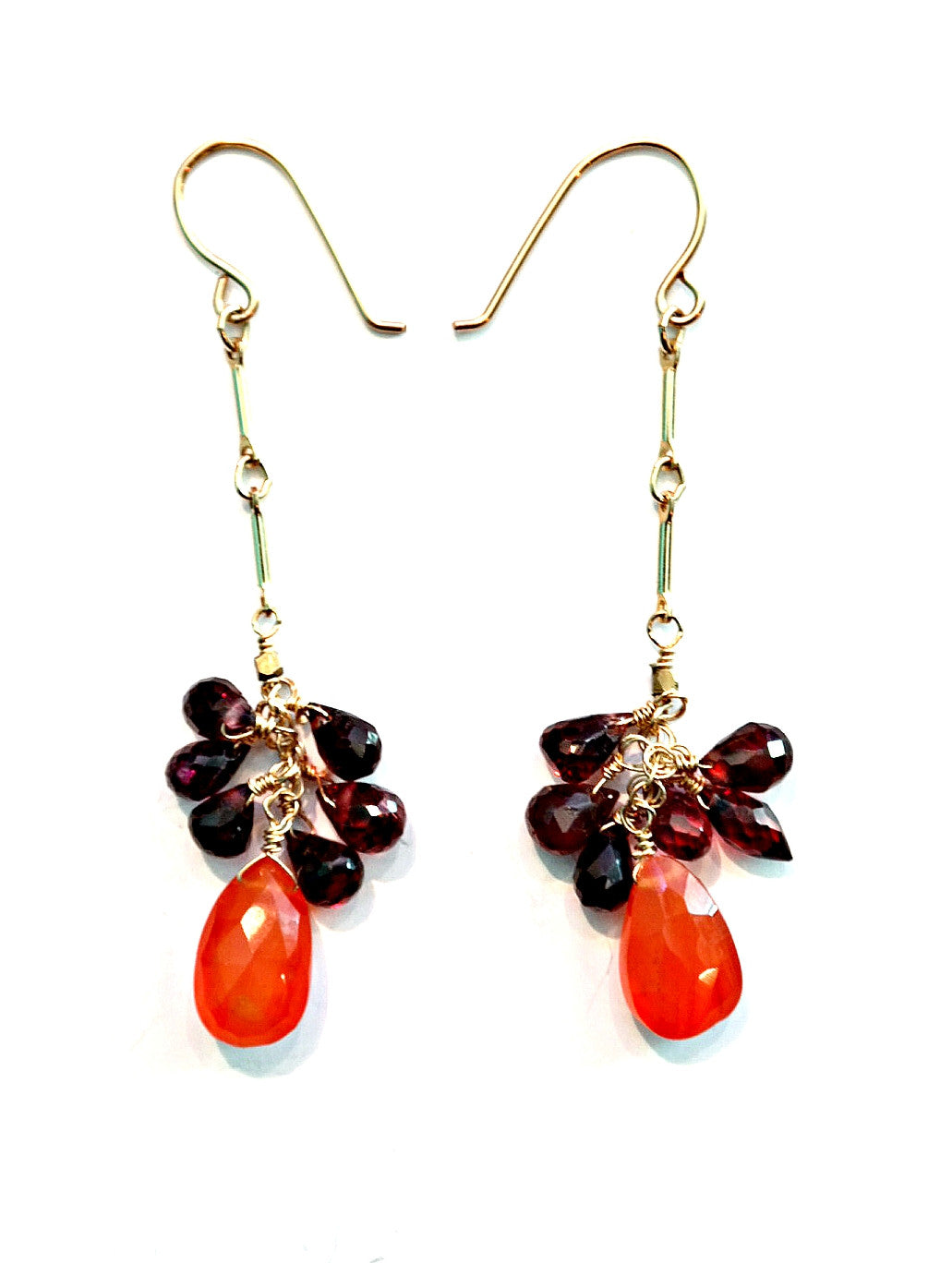 Garnet Cluster Earring With Carnelian Drop