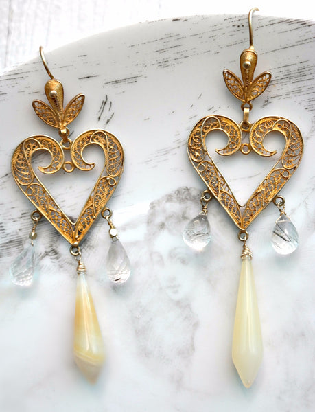Filigree Heart Yellow Chalcedony Earrings