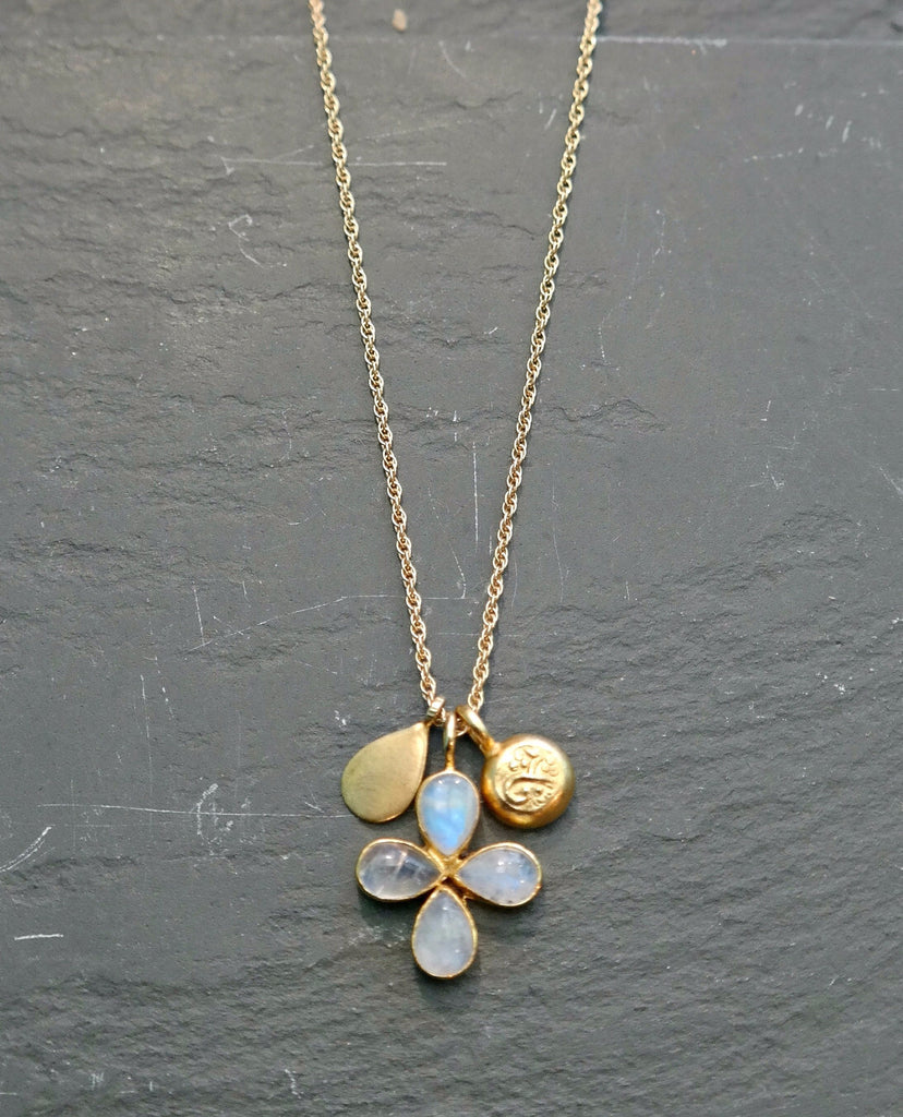 Moonstone Clover Lucky Charm Necklace