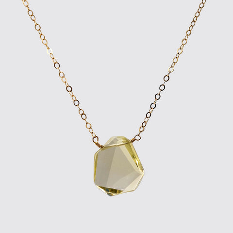 Hand-Faceted Iregular Cut Citrine on chain