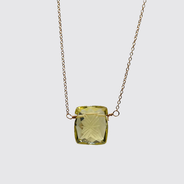 Hand Carved and Faceted Square Briollette Citrine on Fine Gold Chain