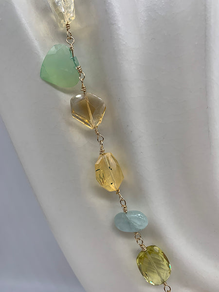 Rosary Necklace with Citrine, Rock Crystal, Chalcedony, Strawberry Quartz, Moonstone, Aquamarine
