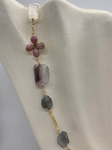 Rosary Mixed Gem Stone Necklace, Labradorite, Kunzite, Moonstone, Ametrine