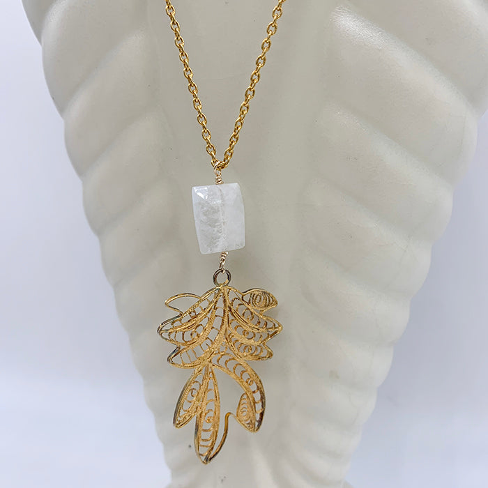 Moonstone, filigree pendant on chain necklace