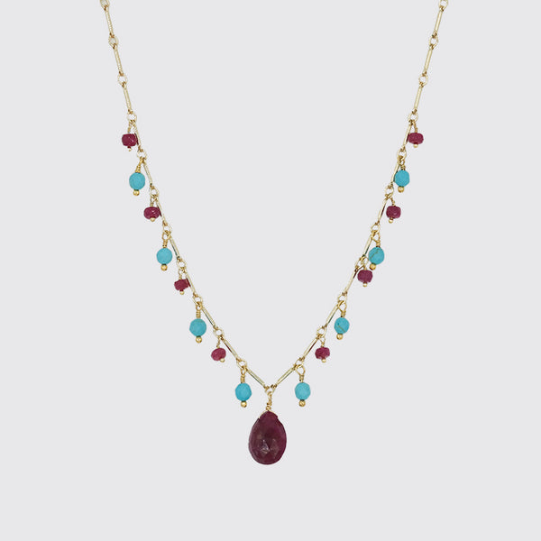 Ruby & Turquoise Drop Necklace
