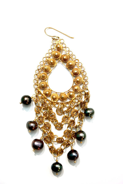 Ornate Filigree Black Pearl Earrings