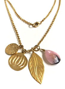 Rhodochrosite Gold Vermeil Multi Charm Necklace