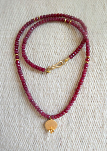 Ruby Gold Charm Necklace