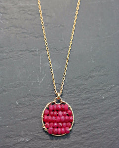 Ruby Beaded Pendant Necklace