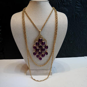 Vintage Crown Trifari Gold Tone Amethyst Bead Waterfall Necklace