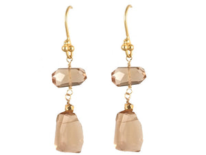Whisky Quartz Double Drop Earrings