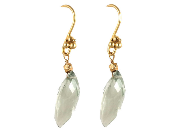 Gold Green Amethyst Drop Earrings