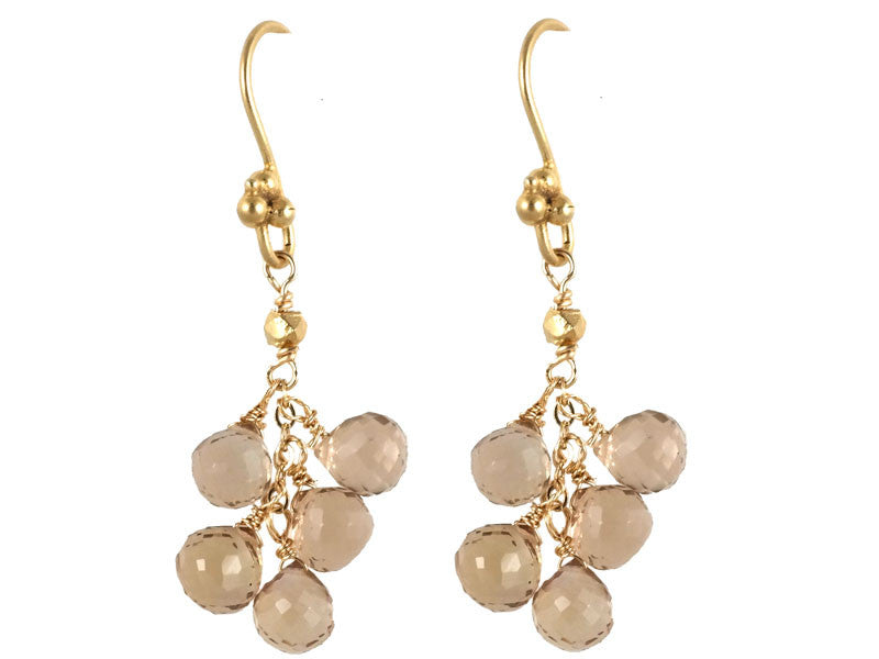 Gold Whisky Quartz Cluster Drop Earrings