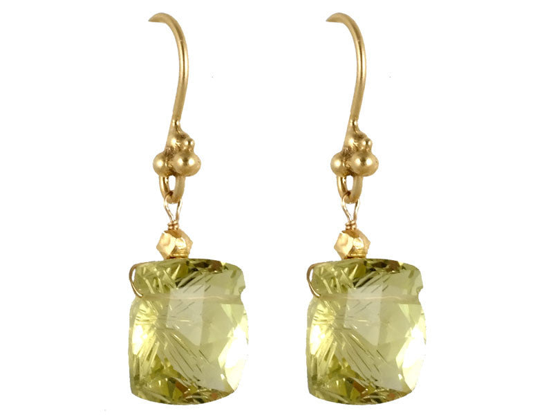 Gold Carved Lemon Citrine Drop Earrings