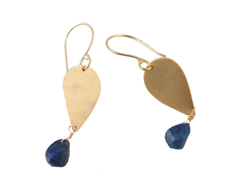 Gold Lapis Tear Drop Earrings