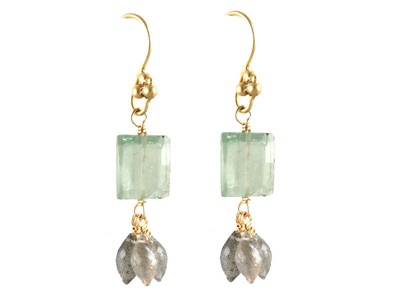 Green Amethyst - Labradorite Cluster Drop Earrings