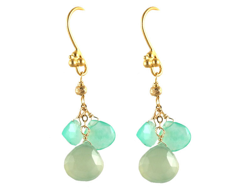 Green Calcite & Chrysoprase Cluster Drop Earrings