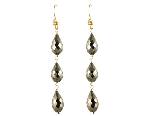 Pyrite Triple Drop Earrings
