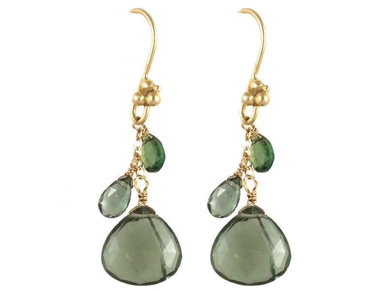 Green Tourmaline Cluster Drop Earrings