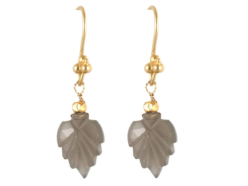 Gray Moonstone Carved Leaf Drop Earrings