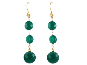 Green Onyx Triple Drop Earrings