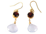 Garnet & Chalcedony drop earrings