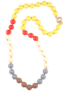 Multi Color Resin Bead Knotted Long Necklace