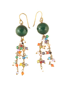 Green Onyx & multi color cz cluster drop earring