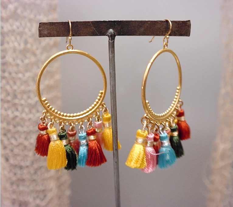 Round Multi Color Tassel Earrings