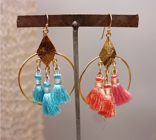 Pink & Blue Contrast Silk Earrings