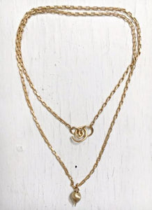 Silvia Rossi Gold Teardrop Necklace