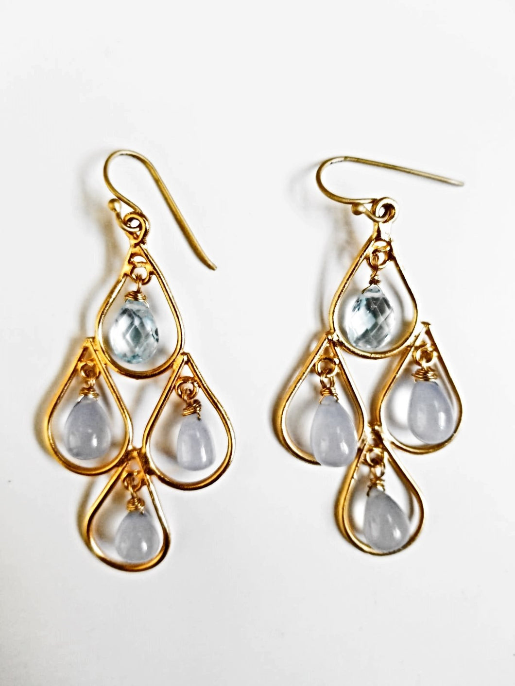 Blue Topaz & Chalcedony Teardrop Earrings