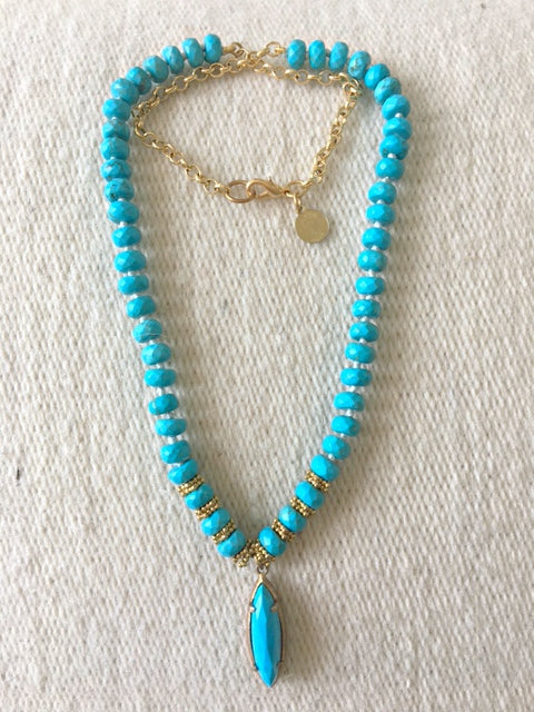 Hand-knotted Turquoise Rosary Necklace