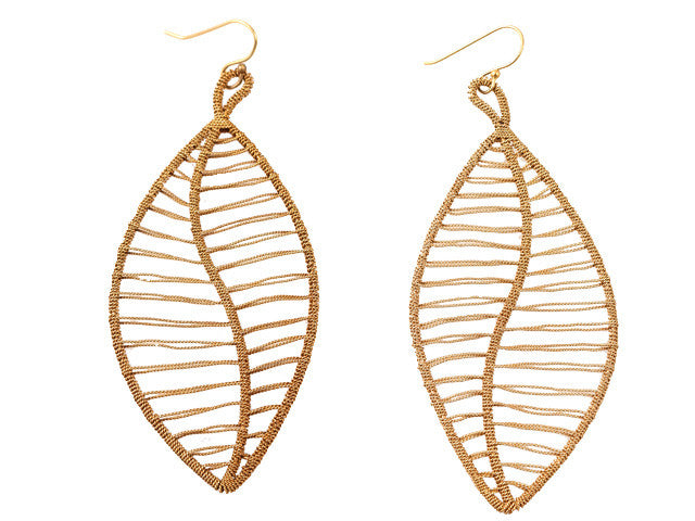 Peruvian large Leaf Earrings