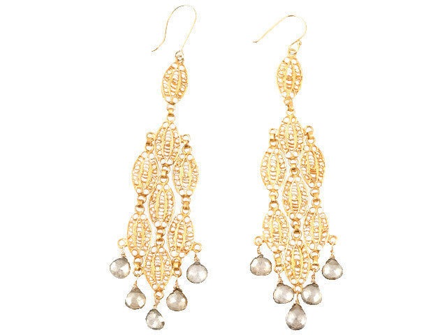 Gold Filigree Floral Cascade Earring