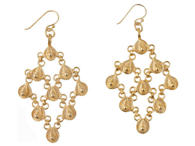 Gold Filigree Lattice Earrings