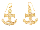 Gold Filigree Anchor Earring
