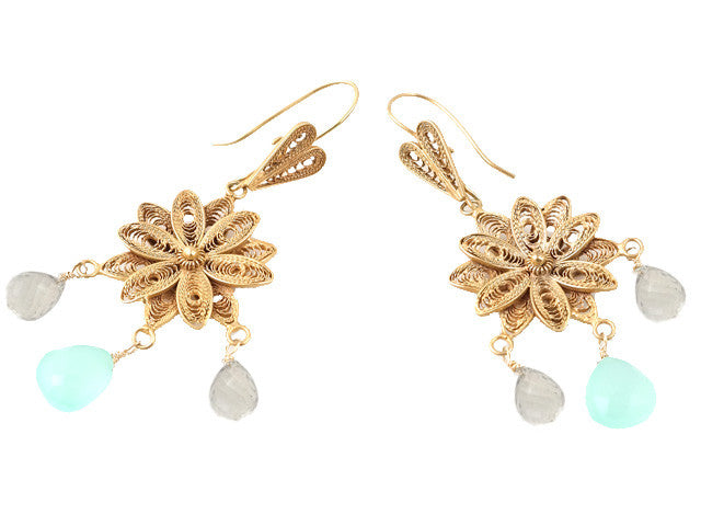FIligree Fower & Calcite Drop Earring