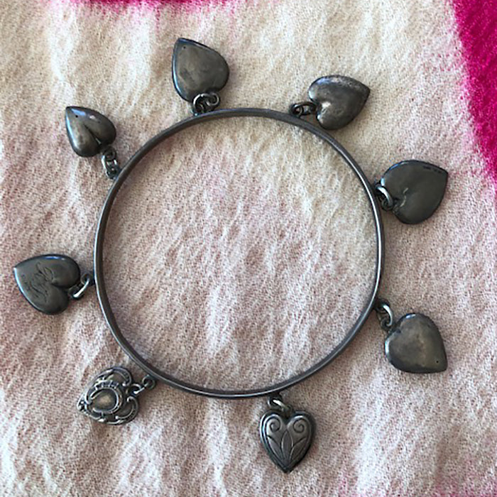 Vintage-Victorian Love Token Bangle Bracelet