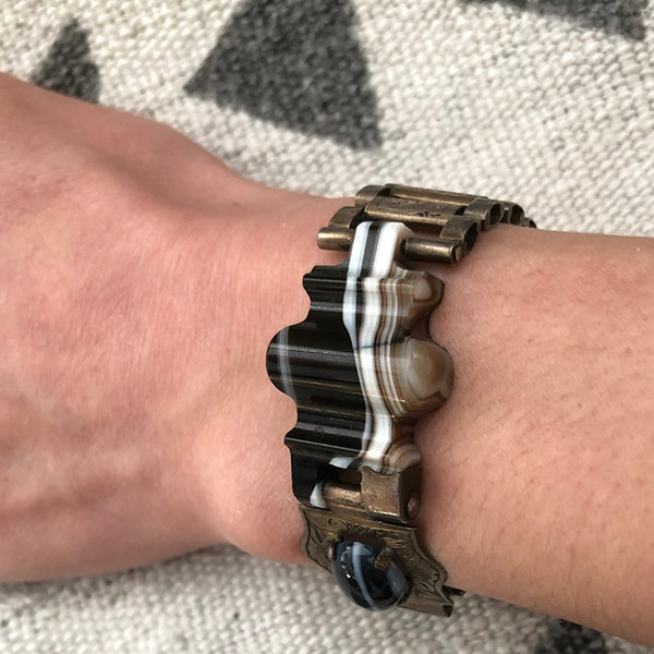 Victorian Scottish Banded Agate Belt Buckle Bracelet