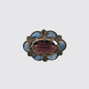 Victorian Scottish Agate and Amethyst Brooch