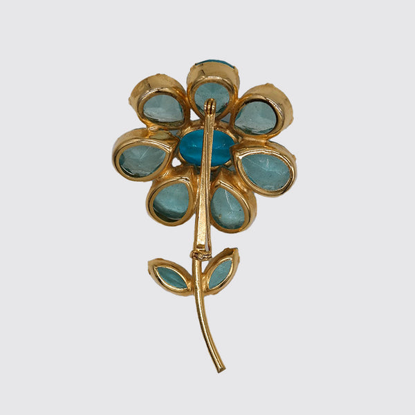 Costume Brooch, Flower with Aqua Colored Glass
