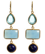 Blue topaz bezel set earring