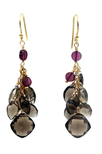 Gold Smokey Topaz & Garnet Cluster Drop Earrings