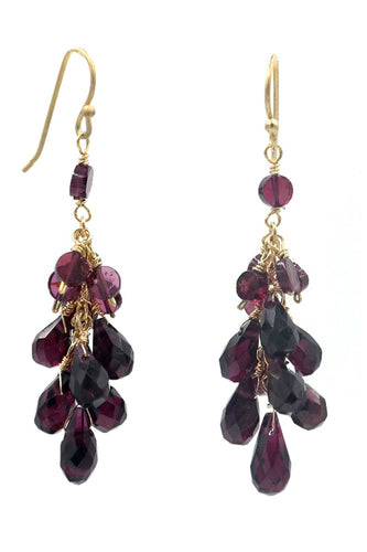 Garnet Cluster Drop Earrings