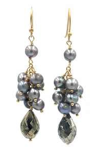 Pyrite & Grey Pearl Cluster Drop Earrings