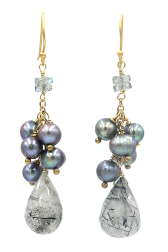 Rudilated Quartz & Grey Pearl Cluster Drop Earring
